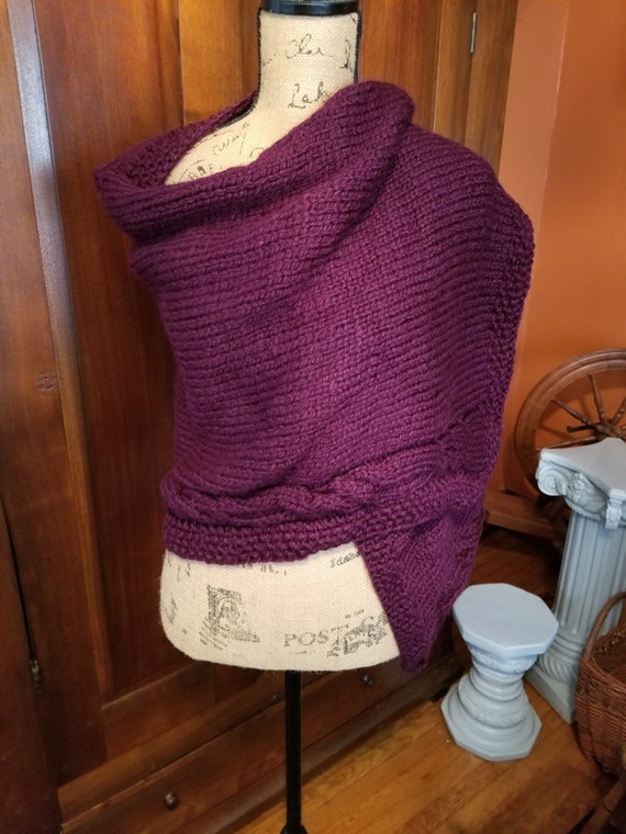Burgundy Hand Knitted Shawl