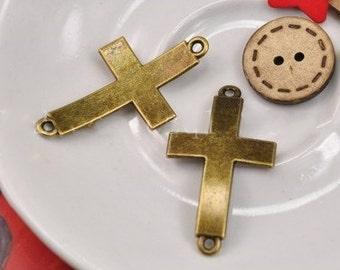 Cross Charms -30pcs Antique Bronze double hole wide cross Connector Charm Pendants 23x42mm