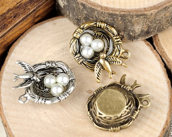DIY  jewelry 10 pcs of antique bronze or silver bird's nest charm pendant 29X20mm