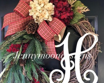 winter wreath wreath holiday wreath country wreath hydrangea monogram woodland wreath gift winter decor gift ideas wreaths - Christmas Wreaths Etsy