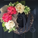 Pink and Cream Hydrangea Wreath - Monogram Wreath - Wreath - Spring Wreath - Summer Wreath - Gifts - Housewarming Gift - Front Door Wreath