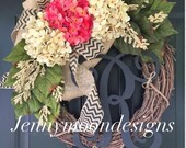BEST SELLER -Everyday Wreath -Wreaths -Spring Wreath -Summer Wreath -Hydrangea Chevron Burlap Monogram Wreath -Wreath - Gift Ideas
