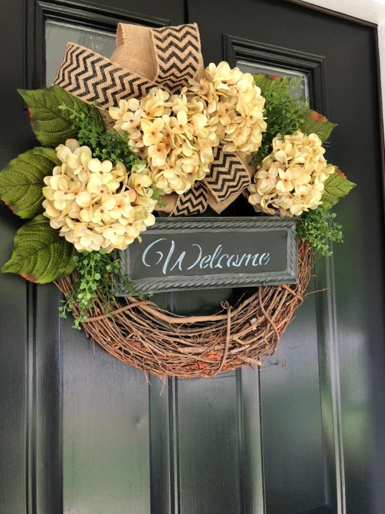 Everyday Wreath Spring Wreath Wreath Welcome Wreath Gift Ideas Mother/'s Day Gift Housewarming Gift Hydrangea Chevron Wreath