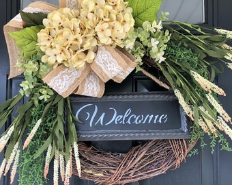 Shabby Chic Cream Country Wreath - Welcome Wreath -Gift -Gifts for her -Christmas Gift -Wreath - Housewarming Gift -Spring Burlap Wreaths