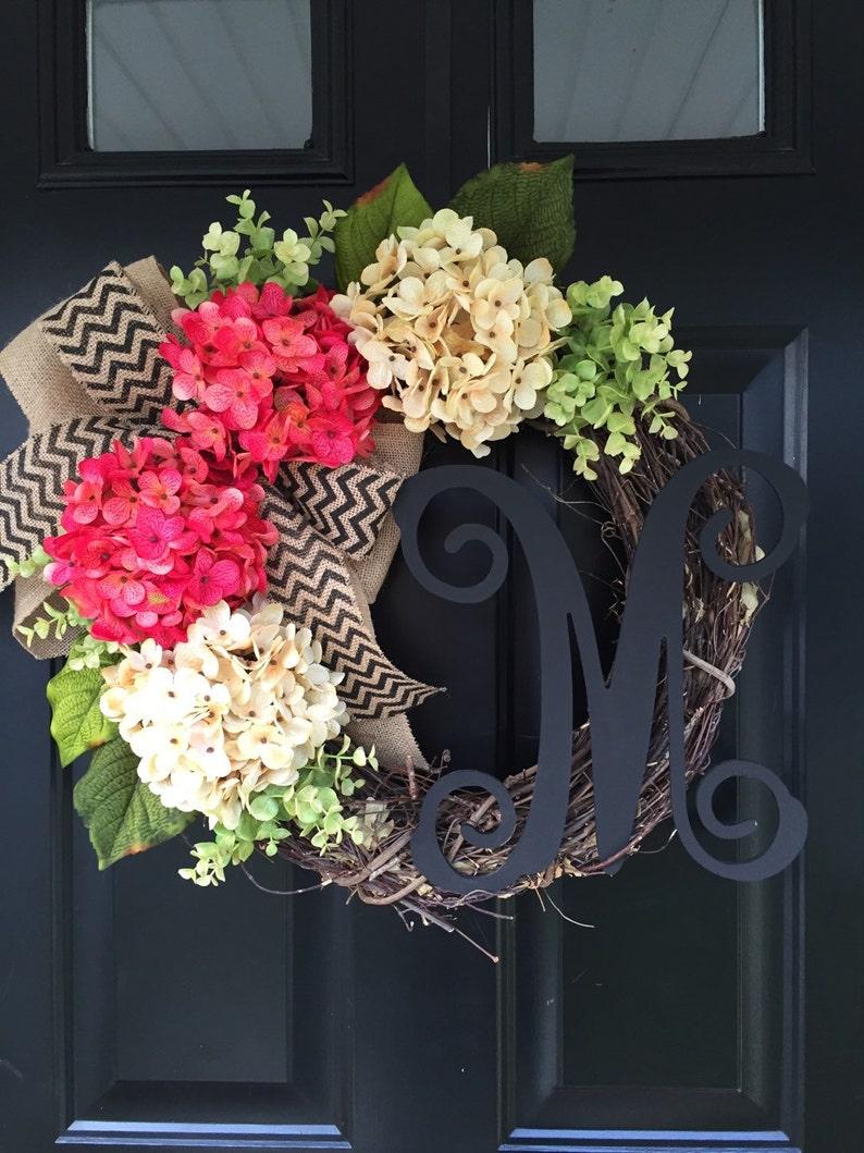 Pink and Cream Hydrangea Wreath  Monogram Wreath  Wreath  image 0