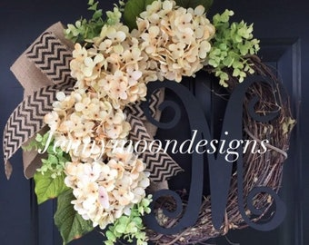 Wreath - Everyday Wreath - Cream Hydrangea Burlap Chevron Wreath - Monogrammed Wreath - Housewarming Gift - Wreaths - Gift - Spring Wreath
