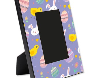 """Easter Picture Frame, 8"""" x 10"""" for 4"""" x 6"""" Picture   Decorative Frame   Bunnies, Chicks and Eggs"""