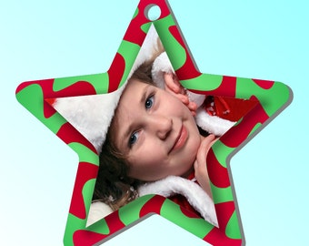 Personalized Christmas Star Photo Ornament