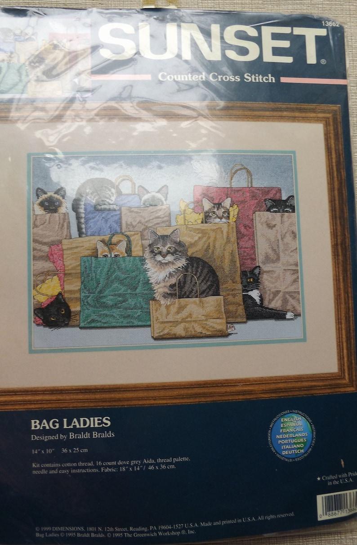 Vintage 90s Sunset Counted Cross Stitch Stitchery Kit Bag Ladies Brandt  Bralds Design 14 by 10
