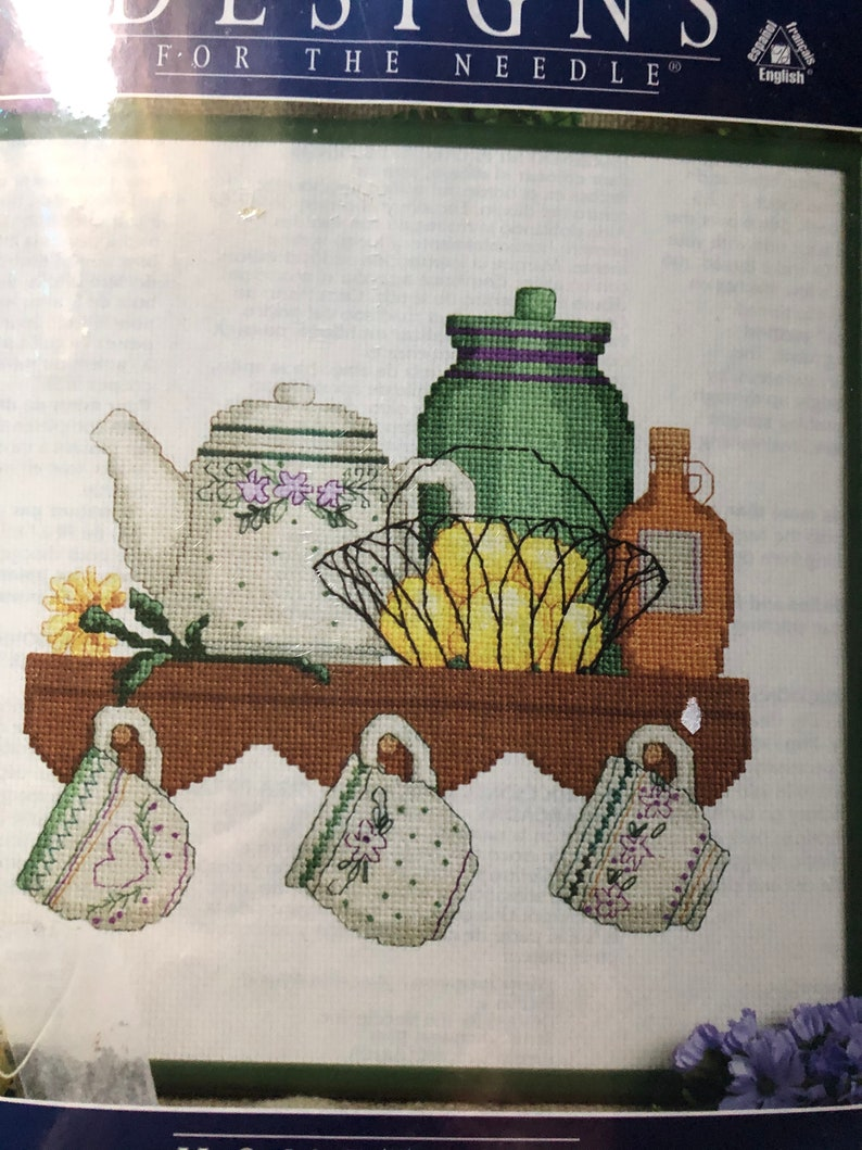 Vintage 1990s Tea Cups Hometown Designs for the Needle Counted Cross Stitch Kit Number 5338 Approx 10 by 10 Inches Never Opened