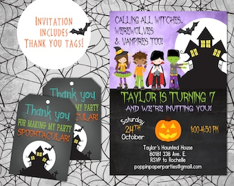 Halloween Birthday Invitation, Dress Up Party, Trick or Treat Party, Halloween Invitation
