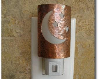 Handmade Copper Night Light - Home Decor - Lighting - 7th Anniversary Gift - Moon and Stars