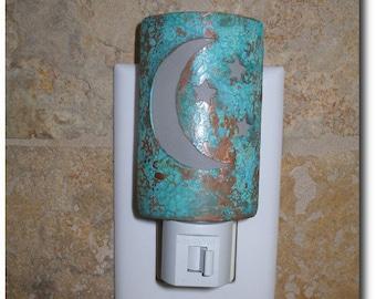 Handmade Copper Night Light - Home Decor - Lighting - 7th Anniversary Gift - Moon and Stars - Verdigris Patina