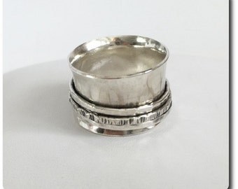 Wide Sterling Silver Spinner Ring - Sterling Silver Band