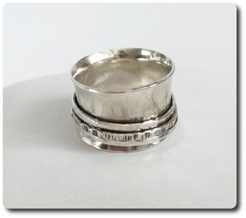 Wide Sterling Silver Spinner Ring  Sterling Silver Band image 0