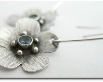 Sterling Silver Flower Drop Earrings with CZ