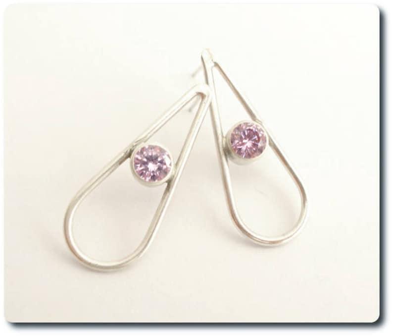 Sterling Silver Teardrop Earrings with Amethyst CZ image 0