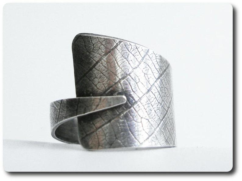 Sterling Silver Leaf Print Wrap Ring image 0