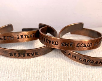 Hammered and Stamped Copper Cuff Bracelet