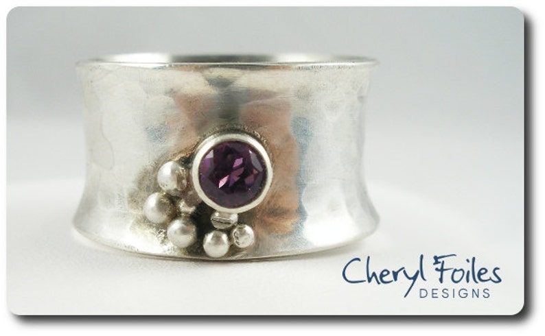 Wide Sterling Silver Ring with CZ Birthstone image 0