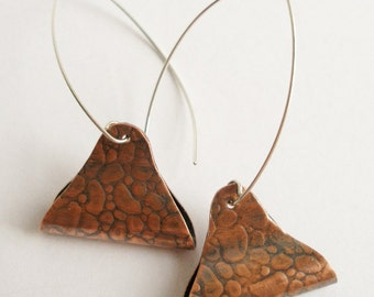 Copper and Sterling Earrings with Pebble Texture