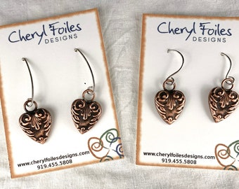 Solid Copper Embossed Heart Earrings with Sterling Ear Wires