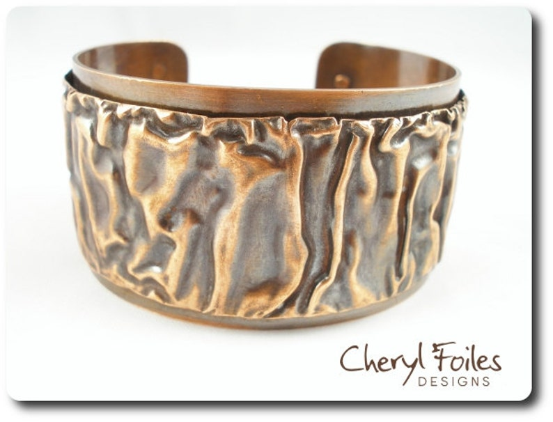 Textured Copper Cuff Bracelet image 0