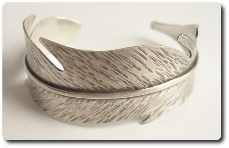 Sterling Silver Feather Cuff Bracelet image 0