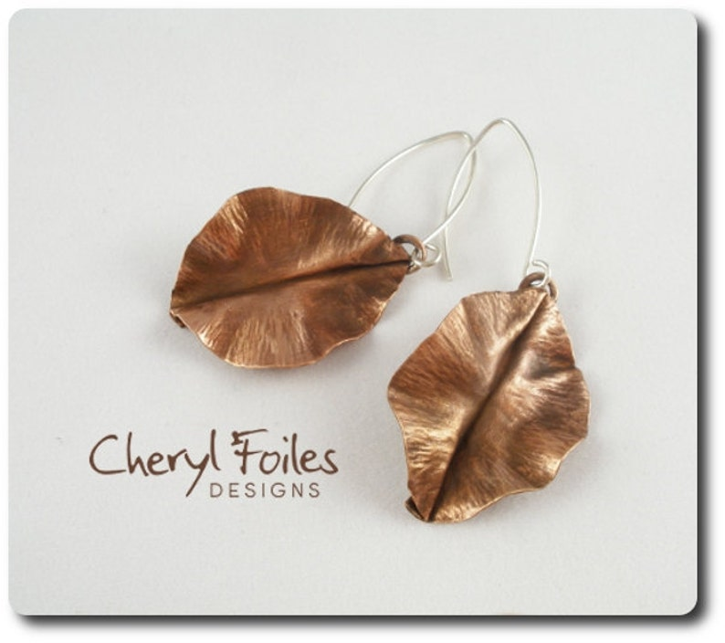 Antique Copper Fold Form Leaf Earrings image 0