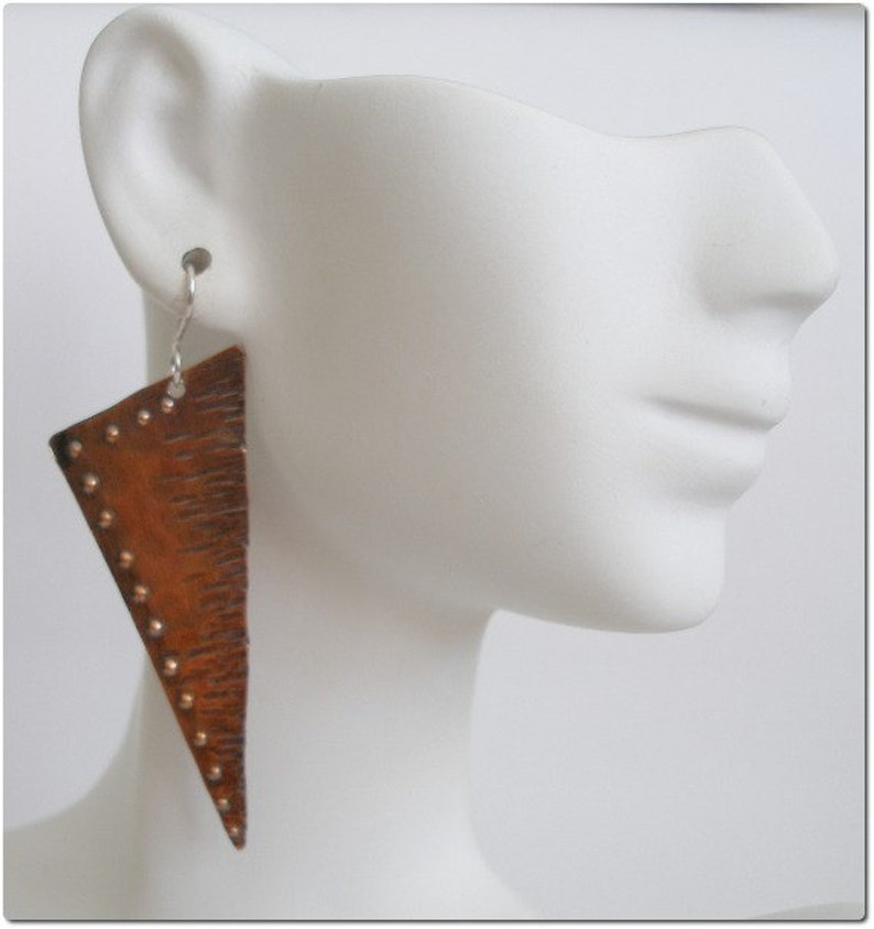 Hammered Copper Rustic Earrings image 0