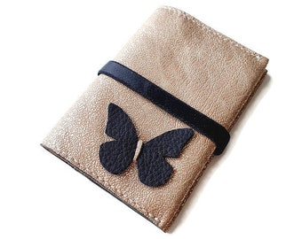 Distressed Gold Lambs Leather Business Card Holder / Credit Card Holder / Loyalty Card Holder with black butterfly