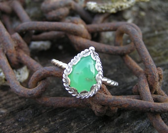Chrysoprase Sterling Silver Ring with Natural Gemstone
