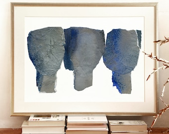 Relation, Extra Large Wall Art, Abstract Painting Blue, Giclee Art Print of Original, Living Room Decor