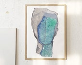 Shallow Water - Large Abstract Contemporary Art Print, Simple Artwork, Portrait Wall Art, Silver and Blue Painting