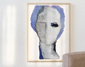 Lady Of The Morning -  Woman Art Print, Large Abstract Portrait Painting, Blue And Grey Wall Art, Pastel Print Painting