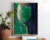 Lost in Greenery - Rustic Art Print, Large Abstract Green and Blue Artwork, Portrait Wall Art, Bohemian Print