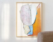 Summer Game - Simple Abstract Print, Large Wall Art Living Room, Bright Orange And Blue Wall Decor