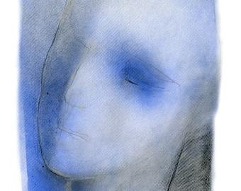 Portrait Drawing in Blue, Watercolor Art Print, Modern Contemporary Fine Art