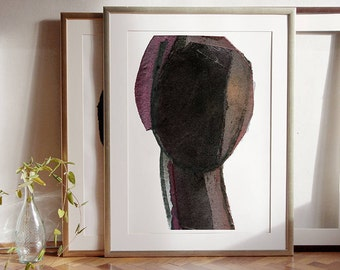 Woman Head Silhouette, Large Abstract Painting Print of Original Contemporary Art, Extra Large Wall Art in Purple and Black