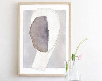 Gray and White Abstract Art, Modern Art Print, Simple Grey Home Decor Print, Neutral Wall Art, Minimalist Art Print