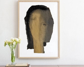 Old Gold and Black Woman Wall Art Print of Original Painting, Large Giclee Print, Gift for her, Living Room Decor