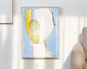 On The Blue - Signed Large Abstract Print, Modern Light Blue And Yellow Wall Art Painting