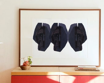 Large Wall Art Print with Abstract Heads, Fine Art Painting, Modern Black and White Print