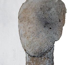 Silver Head, Fine Art Print of Original Painting, Grey Abstract Art, Minimalist Portrait