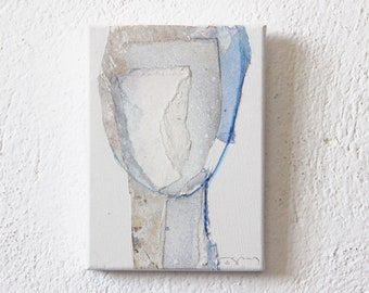 Mediterranean White - Original Artwork, Abstract White and Blue Painting Head