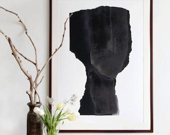 Simple Figurative Painting, Contemporary Abstract Wall Art Decor, Black Art Work, Fine Art Print