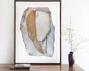 Silver Grey Head, Modern Art Print of Original Collage, Large Abstract Print, Gold and White Wall Art