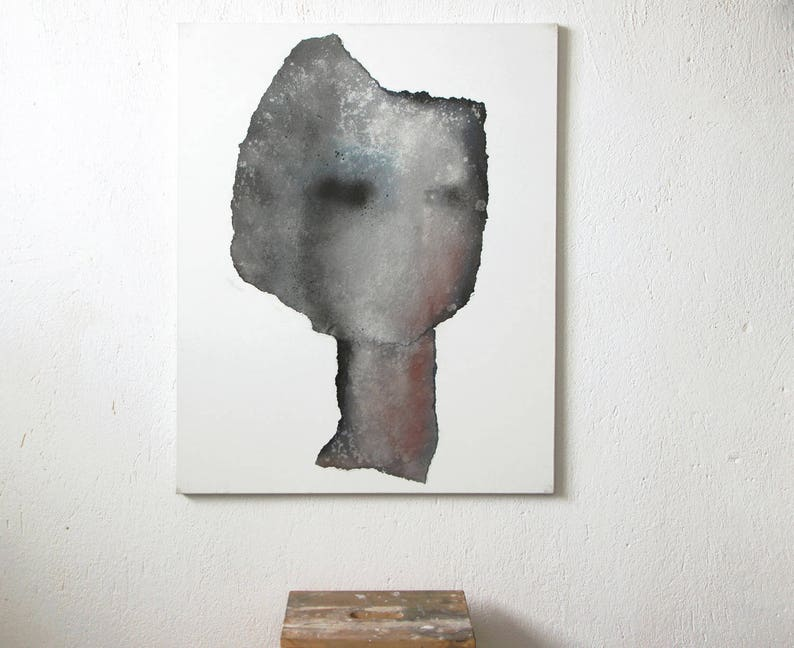 Grey Metallic Head 31 X 39 Artwork Original Abstract Painting Large Contemporary Painting On Canvas