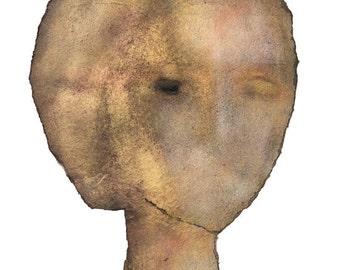 Woman Painting Head, Giclee print from original art, Modern Mixed Media Portrait, Contemporary art