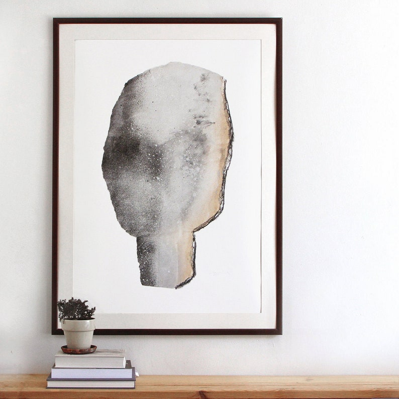Abstract Gray Head Large Modern Portrait Poster Oversized image 0